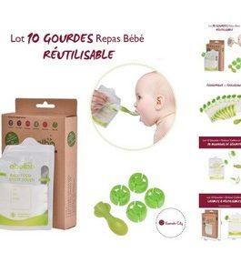 10 gourdes de conservation réutilisables (repas bébé)