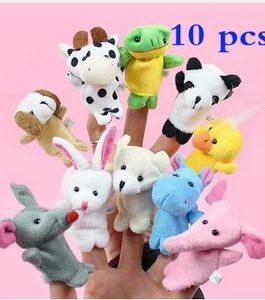 10Pcs poupées à doigt en peluche, animaux