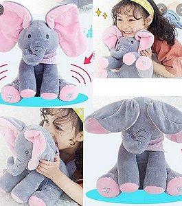 Éléphant musical , interactif avec des oreilles roses