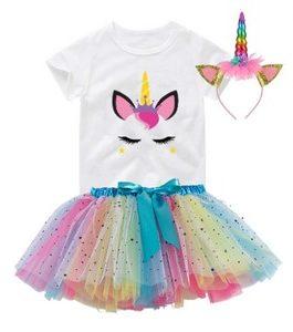 Tenue anniversaire Girl  multicolore avec couronne