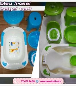 Lot bassine set de bain  7 pièces 4 couleurs disponibles