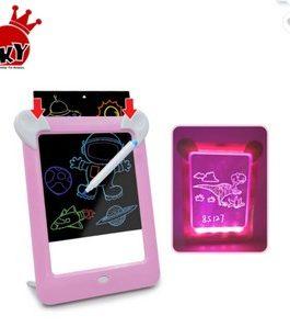 Magic Pad 3D Tablette d'écriture/dessin LCD avec Lumière  Magique(rose)