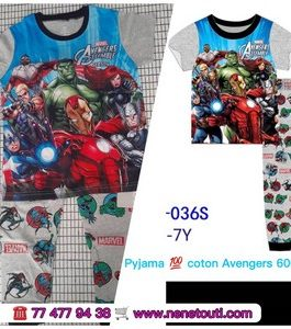 Pyjamas super heros 100% coton 2 à 6 ans couleurs  Garçon